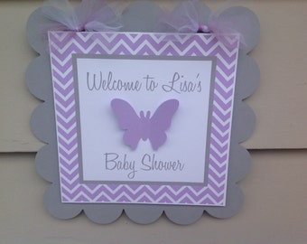 Lavender and Grey Butterfly Door Sign Baby Shower Birthday Party