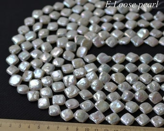 Square pearl Freshwater pearl wholesale pearl pearl Necklace Natural White loose pearls 12-13mm 14.9 inches Full Strand Item No : PL4038