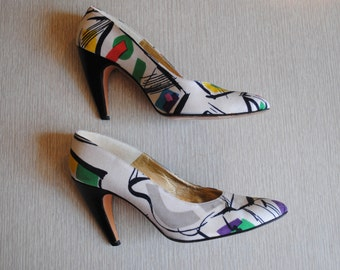 Vintage 1980's Walter Steiger  Multicolor Abstract Print Kandinsky  Pumps / Artsy Heels / Size 7 / Made in Italy