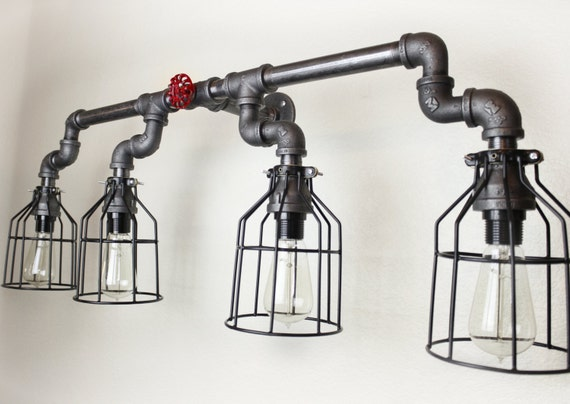 steampunk industrial lighting edison bulbs wall sconce pipe. Black Bedroom Furniture Sets. Home Design Ideas