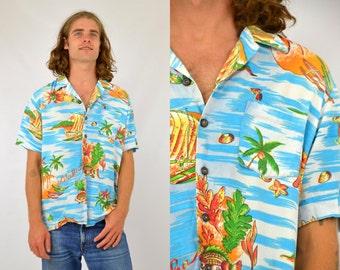 Vintage Hawaiian Kennington Vacation Themed Button Up Shirt