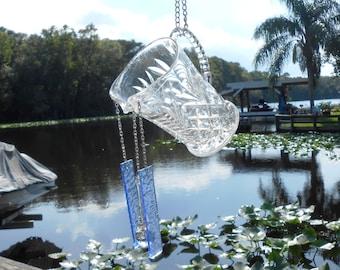 OOAK Recycled Glass Suncatcher Wind chime, Antique EAPG Pitcher Glass Yard Art, Vintage Garden Decor, Original Handmade Design
