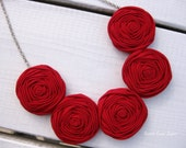 Red Rosette Necklace Fabric Necklace Rosette Jewelry Bib Necklace Wearable Art Statement Jewelry Fabric Flower Necklace Unique Necklace