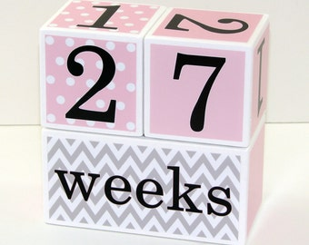 Baby Age Blocks Girl LARGE - Painted White Blocks - Photo Prop – Baby Shower Gift - Color: Cotton Candy