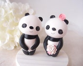 Custom Wedding Cake Toppers - Love Panda with base