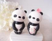 Custom Wedding Cake Toppers - Love Panda with base
