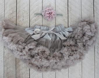 Pettiskirt - FREE Silver Glitter & Gray/Pink Flower Headband - Gray Skirt - Flower Girl - First Birthday Outfit - Newborn Photos - baby tutu
