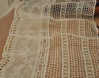 Cotton Lace Trim in Antique Style in Ivory , Crocheted Embroidery Lace Trim