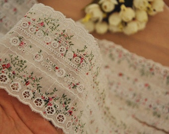 Cotton Embroidery Lace Trim with Eyelet 2 yards