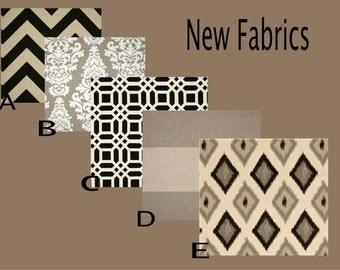 THROW PILLOW sham / cover fits 18x18 neutral brown black grey plaid stripe