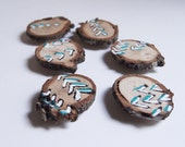 Tree slice wood magnets  Set of 6 - Hand Painted Abstract Design