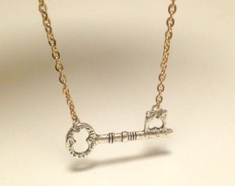 Side Key Necklace Side Bar Key Necklace Bar Necklace with GOLD Chain