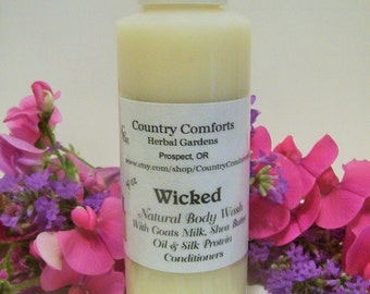 Wicked Natural Body Wash - Goats Milk, Shea Butter Oil, Silk Protein Conditioners - 4 oz bottle