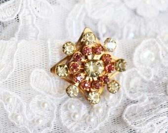 Flower Brooch, Vintage Gold Tone, Pink & Clear Rhinestones, HALF OFF Sale, Item No. B772