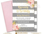 BRUNCH & BUBBLY INVITATION Bridal Shower Invite Pink Peonies Gray Stripes Gold Glitter Confetti Printable Rose Free Shipping or DiY- Krissy