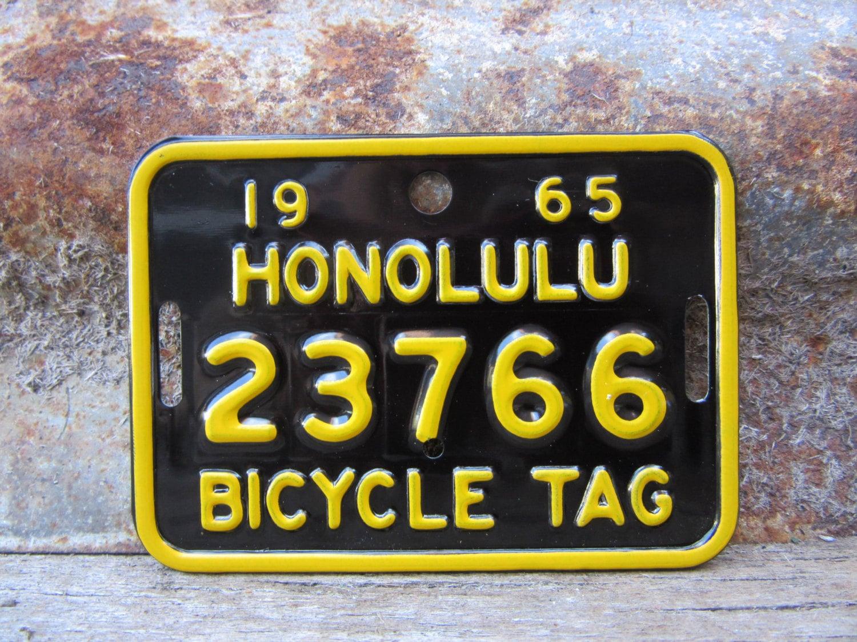 Hawaiian Tag: Vintage 1965 Honolulu Hawaii Bicycle License Plate Metal Tag