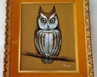 Vintage 1960s 70s Owl Painting Yellow Velvet Gold Frame Oil on Canvas