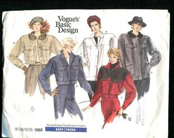 Vintage 1980's Vogue 1968 Retro Bomber or Ranch Hand Jackets Size 10 UNCUT