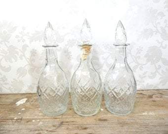 Decanter Lot, pressed Glass set of 3 decanters, all with lids, wedding decor, Barware, bar decor, whiskey bottles