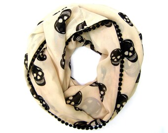 Cream Skull Scarf, Infinity Scarf, Teen Fashion, Trendy Womens Clothing, Fashion Scarves, Hipster Scarf, Teen Gift, Ready to Ship