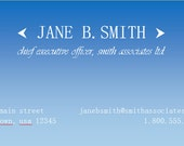 DIY Word Template Blue Ombre Executive Business Card