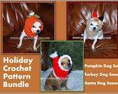 3 Holiday Dog Snood Crochet Patterns- Crochet Pattern  Bundle - Pumpkin, Turkey and Santa Dog Snood Patterns