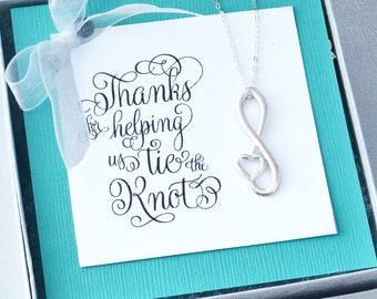 Infinity Heart Pendant, Infinity Jewelry, Infinity Pendant, Thanks for Helping Us Tie the Knot, Infinity Necklace