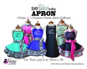 Mr. And Mrs. Damask Print Bridal Aprons, Custom Colors Welcomed...Perfect Wedding Gift!