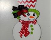 Snowman Door Hanger, Christmas Door Hanger, Winter Decor, Snowmen, Red and White Chevron Hat