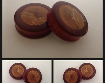 Pick Size Bloodwood Olivewood Inlay Organic ear plugs gauges