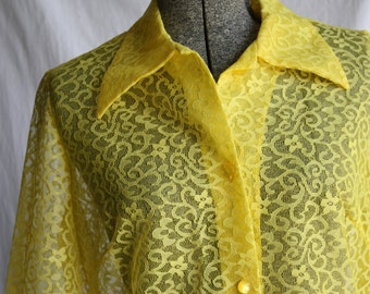 1960's Yellow Screen Lace Long Sleeve Shell Blouse Size Large
