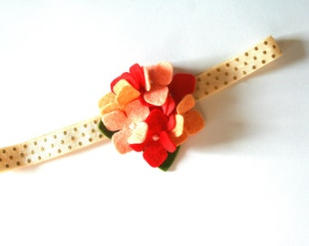 Felt Flower Headband in Peach and Red