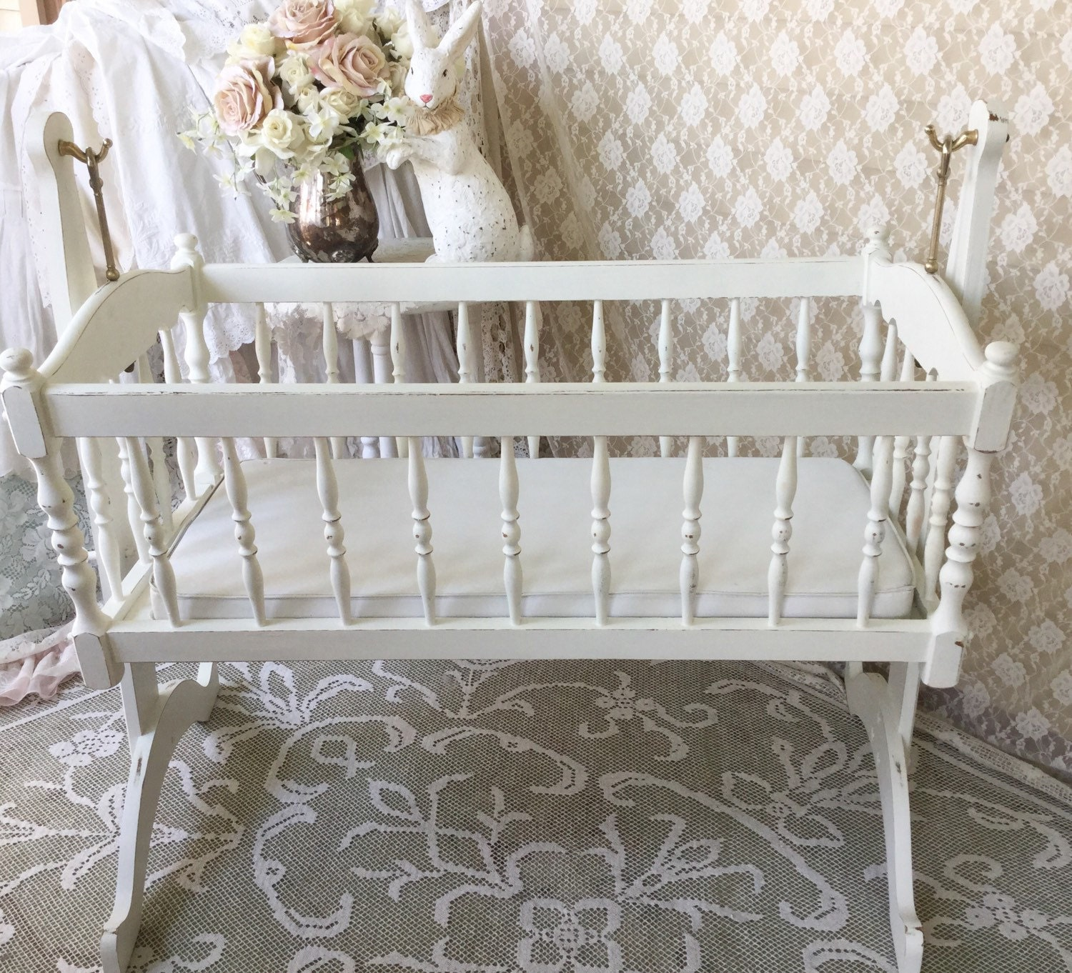 Baby bed vintage - Reserved Shabby White Vintage Baby Cradle Baby Bed Wooden Rocking Cradle Shabby Baby Nursery Baby Photo Prop Large Suspended Baby Cradle