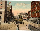 Vintage Postcard, Washington, DC, F Street From 9th., Looking Toward U.S. Treasury, 1916