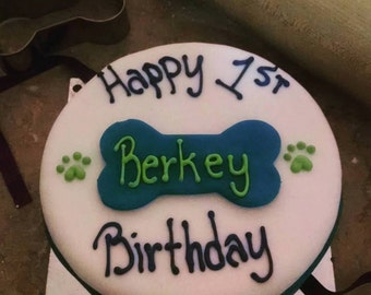 Personalized 6 inch Dog Birthday Cake Peanut Butter Banana
