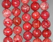 8mm Fire Cracker Jade Gemstone Grade AA Red Round Loose Beads 16 inch Full Strand (90185299-862)