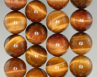 16mm Cognac Tiger Eye Gemstone Grade AAA Brown Yellow Round Loose Beads 7.5 inch Half Strand (90186179-736)