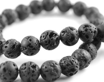 10mm Grey Volcanic Basaltic Lava Gemstone Grade A Round 10mm Loose Beads 17 inch Full Strand (90186644-750)