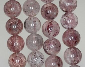10mm Strawberry Lepidocrocite Quartz Red Gemstone Grade A Round Loose Beads 7 inch Half Strand (90190504-828)