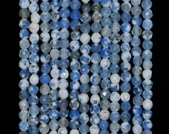 4mm Fire Agate Gemstone Ice Blue Faceted Round Loose Beads 15 inch Full Strand (90183838-364)