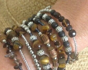 Wrap Bracelet Tigers Eye, Smokey Quartz and Silver