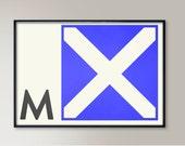 Nautical Flags Alphabet, Letter M, Naval Flags, Naval Signal, Nautical Art, Nautical Sign, Navy Sign, Maritime Art, Maritime Flag, Home Art