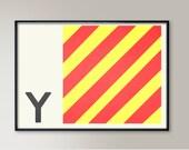 Navy Code Flags Wall Art, Letter Y, Naval Flags, Naval Signal, Nautical Art, Nautical Sign, Navy Sign, Maritime Art, Maritime Flag, Monogram