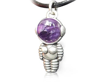 Woman Astronaut Silver pendant with Amethyst.
