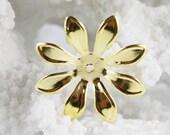 Gold 8 Petal Flower Iron Bead Caps (12pcs) G18
