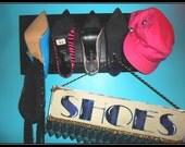 Fashion accessory display hooks, Repurposed shoe plaque, Scarf display, Hat organization,Stileto heels,high heel shoes,ladies display