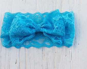 Lace newborn headband, lace headbands, wide lace bow headbands baby girl headbands infant headband flower girl