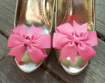 Wedding Shoe Clips, Bridal Shoe Clips, Bow Shoe Clips, Hot Pink Shoe Clips, Hot Pink Grosgrain Bows, Shoe Clips for Wedding Shoes,