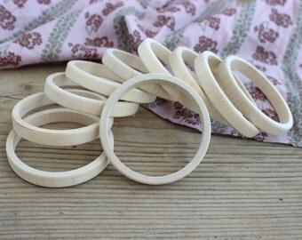 Wooden bangle unfinished / set of 10 stacking bangles /10 mm / natural wood simple bangle / party favors / wooden bracelet