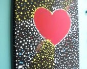 Heart Painting , Love Art , Wall Decor, Heart Decor , Acrylic Painting , Polka dot painting , Housewarming Gift , Wedding Gift , Unique art